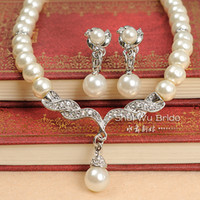 Wholesale Hot Sale White Pearl and Rhinestone Crystal Diamante Wedding Bridal Necklace and Earrings Bridesmaid Jewelry Set