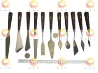 Wholesale Painting knives set in wooden handle palette knife set for oil painter to mix color art supplies