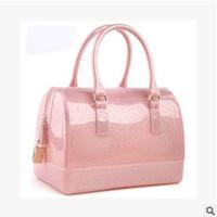 silicone handbags - 50pcs CCA3097 High Quality Women Ladies Jelly Handbag Silicone Furly Jelly Handbag Famous Brand Bag Candy Color Bags Purses Bolsas Totes