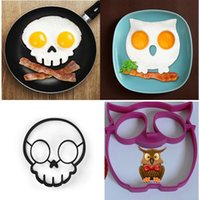 Wholesale 2pcs Owl skull cooking tool Egg Silicone Mold kitchen tool egg maker baked eggs tools Food grade silicone