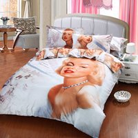 Cheap 2015 3D Oil painting Bed in a bag Cotton 4pcs Bedding sets Queen size Sexy Marilyn Monroe Flat bed sheet comforter Duvet cover Pillow case