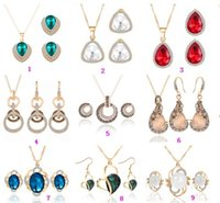 gold jewelry - Gold Jewelry Sets Shining Crystal Opal Pendant Necklaces Earrings Jewelry Sets For Women Designs HZ