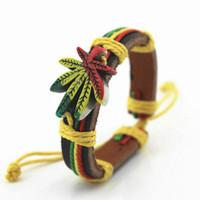 Wholesale Bob Marley bracelets Reggae Rasta Stripe Leather Wristband Bob Marley Jamaica bracelet pot bracelet