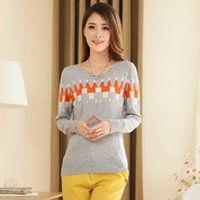 acrylic block wall - 2015 New autumn and winter sweet women fashion round neck slim Great Wall pattern color blocking knit sweaters pullovers female