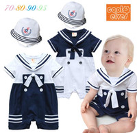 Wholesale baby boy romper sailor navy style toddler costume cotton short sleeve with hat baby jumpsuit age