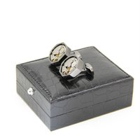 alligator cufflinks - Black Leather Cufflinks Box PC High Quality Imitation alligator skin Cuff Box Jewelry Carrying Case excluding cufflinks