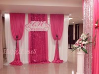 color knife set - Wedding Decoration Wedding Banquet Curtain Backdrop With Detachable Swag Sequins On The Middle Pink Color Drapes On The The Side