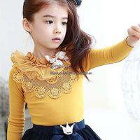 long sleeve yellow t-shirts - Girls Shirt Children T Shirts Long Sleeve T Shirt Best Shirts Spring Korean Lace Shirt Girl Dress Children Clothes Kids Clothing C1963