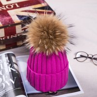 Wholesale Knit Hats Beads - Autumn And Winter Female Solid Color Beads Oversized Raccoon Fur Ball Knitted Hat   Baseball Cap   Wool Hat Leather Hat   Women Hat 16 Color