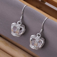 Cheap Free shipping 925 sterling silver jewelry earring fine princess crown drop earring wholesale and retail SMTE081