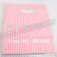 Wholesale 180pcs New Lastest Design Plastic Red Striped Packaging Bags Shopping Hand Bag Protable Boutique Gift Carrier