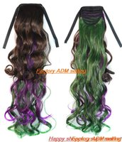 Wholesale Women s synthetic ribbon Ponytail Horsetail Clip In Hair Extensions long curly Hairpiece double color