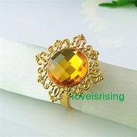al por mayor servilleteros amarillo-Precio más bajo - 50pcs Oro Amarillo Oro plateado estilo vintage anillos de servilleta de la boda nupcial de la ducha de la servilleta del envío holder-- gratuito