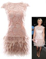 Wholesale Sexy New Floral Leaf Lace Top Feather Mini Cocktail Dresses In Beige