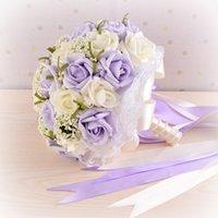 Wholesale Beautiful Wedding Bouquet Bridesmaid Artifical Flower Bouquet Sweet Bouquet Lavender Rose Bridal Bouquet