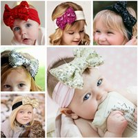 Cheap 2015 New Gold sequin bow headband, sequin hair bow turban headband for baby girls hair accessories 13 color available