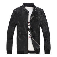 Wholesale 2016 New Arrival Men s Leather Jacket And Coats Simple Casual Motorcycle Slim Fit Jacket Plus Size M XL P101