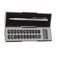 Wholesale Silver Magic Pen And Calculator Set Handbag Pocket Size Stocking Teachers Gift