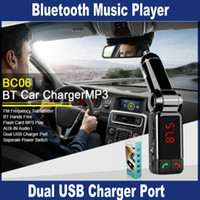 Wholesale BC06 LCD Bluetooth Car Kit MP3 FM Transmitter SD USB Car Charger Handsfree for iPhone Plus Samsung Galaxy Note S5 S4 S3 S6 OM CD4