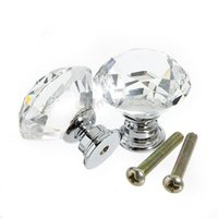 Wholesale 24 mm Diamond Crystal Glass Door Knob Drawer Cabinet Pull Handle With Screw Home Decor Furniture Hardware