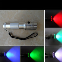 Wholesale Hot sell W LED RGB Colour Changing Torch Flashlight colours New battery powered torch Christmas New Year gift