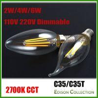COB bullets - 6Pcs Dimmable W Watt W Vintage LED Filament Candelabra Bulbs lm w K V V K C35 Bullet Top C35T Bent Tip CE UL Approval