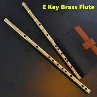 alto flute - Brass Metal Flute E Key Metal Flauta Thicken Brass Chinese Dizi Flute Professional Musical Instrument Flauta Self defense Weapon