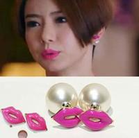 earrings sexy - Korea style new sexy lips pearl earrings stud earrings for women brand new earring ear cuff fashion jewelry