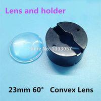 Cheap Wholesale-50set lot LED Lens 23mm 60 degree with Black holder set sell bracket optical car lenses Semicircular Convex power lens