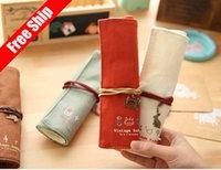 best paint brush - Retro canvas pen bag Makeup Cosmetic brush bag Painting pen bag Volume fashion simple Best Gift