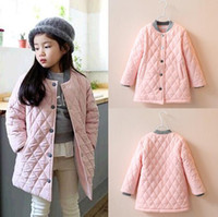 baseball jackets for sale - Winter hot sale Girls Coat Korean Solid Children Cotton Outwear Diamond Check Round Collar Pink Long Baseball Jacket For Kids Age