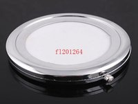 Wholesale Fedex DHL Round Circle Blank Compact Metal Cosmetic Mirror Silver Makeup Mirror