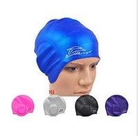 oreja proteger gorro de natación de silicona pelo largo sombreros elástica tamaño libre para adultos Piscina impermeable Caps sombreros buena calidad en 6 colores