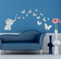 baby room mirrors - 2015 Hot selling elephant and butterfly mirror decal sitickers D acrylic wall mirror sticker baby room living bedrom decoration