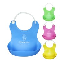 pocket pc - 1 High Quality Multi Color Baby Silicone Bib Waterproof Pocket With Rice Bibs Individually Wrapped Feeding Baby Pinafore