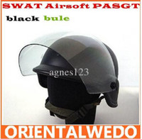 Wholesale SWAT Airsoft PASGT Kevlar Helmet w Visor Black top sale free ship