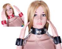 Female slave collar - Slut Handcuffs Collar BDSM Slave Colllars with Wrist Restraints Bondage Gear Adult Sex Toys for Women ASL PK0243 Red ASL PK0226 Black