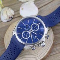 battery rs - New Luxury Blue Men s Watch Sports Quartz Movement Chronograph Stopwatch Original Clasp Calibre rs Rubber Band Men Watches Wristwatch