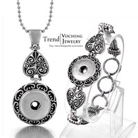 Wholesale VOCHENG NOOSA Silver Plated Interchangeable mm Ginger Snap Jewelry Set Button Pendants Necklace and Bracelet NN