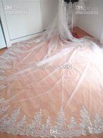 bridal veil lace edge - Royal Cathedral Train T Elegant m Lace Edged Crystal Rhinestone Comb Wedding Bridal Veil