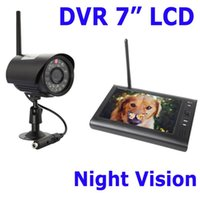 Wholesale Digital Wireless DVR with quot LCD Monitor SD Card Recording and Long Range Night Vision CCTV Cameras Camera Security System