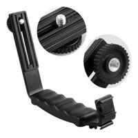 Cheap Right Angle 2 Shoe Flash Bracket DV bracket tray Dual Hot shoe L-shaped Flash Bracket for DSLR Camera and Camcorders