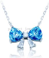 Wholesale Blue topaz necklace Real natural blue topaz Perfect jewelry Gemstone necklace Red gemstones Fine jewelry For women