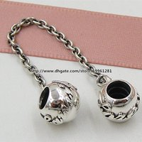 beads family - 925 Sterling Silver Family Ties Safety Chain Charm Bead Fit European Pandora Style Jewelry Bracelets Necklaces