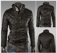 leather motorcycle apparel - Men PU Leather Jackets Mens Apparel Clothing Outwears Cotton Inner Jacket Motorcycle leather Jacket Stand Collar Mans waistcoat designs