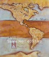 Cheap Free Shipping !! World Map!! Gallery Quality Modern Abstract Oil Painting On Canvas WDA346