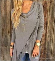 Wholesale Women Long Sleeve Knitted Cardigan Loose Sweater Outwear Jacket Tassel Coat S XL hight quality