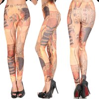 ancient egyptian beauty - Seamless Color Leggings Ancient Egyptian Beauty Female Trousers Pattern Individuality Stretch Pants