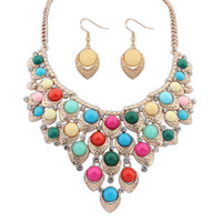 bib necklace set - Bubble Bib Statement Necklace Earring Set Crystal Pendant Chain Jewelry For Women sets free ship