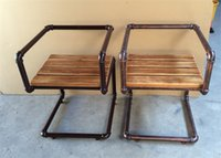 Wholesale American Iron retro bar to do the old antique wood dining chairs Dining table chair coffee chair leisure chair pipes